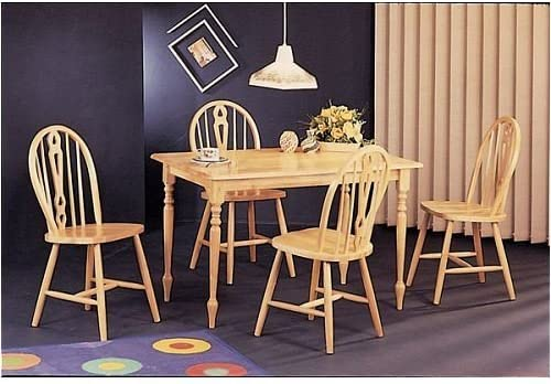 Amazon Com Wood Butcher Block Dining Table Set 4 Keyhole Chairs Table Chair Sets