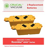 2 Replacements for iRobot 14.4V 2500mAh Batteries Fit Dirt Dog, Roomba 400, Discovery & Create, Compatible With Part # 17373, Long Lasting & Rechargeable, by Think Crucial
