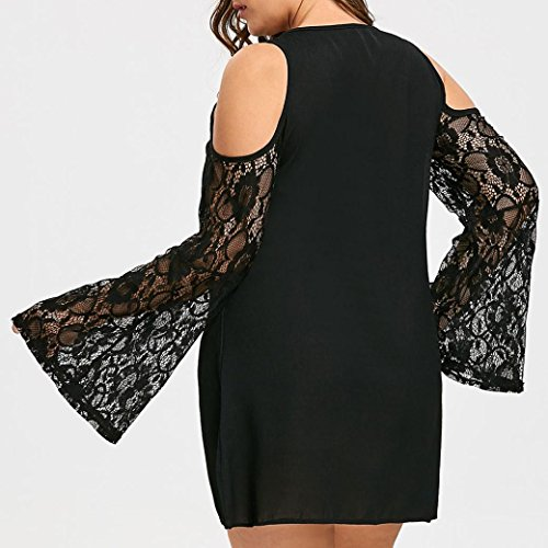 FENZL Women Plus Size Lace Patchwork Strapless Casual Loose Mini Dress Party Dress (US-2X/18, Black) by FENZL (Image #1)