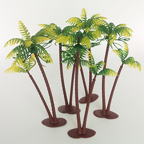 5.7Inch Height LOT 5 Coconut Palm Palms Twin Coconut Tree Trees Aquarium Terrariums Miniature Garden Fairy Gardens Doll House Cake Topper Resin Decoration