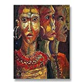 Hand Painted Canvas Paintings Africa Unframed Tablet 26X36 inch (66X91 cm) for Living Room Bedroom Dining Room Wall Decor To DIY Frame Home Decoration by Neron Art
