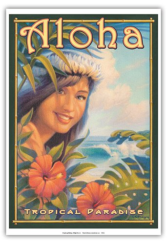 Aloha Tropical Paradise - Hula Girl - Vintage Style Hawaiian Travel Poster by Kerne Erickson - Master Art Print - 13 x 19in
