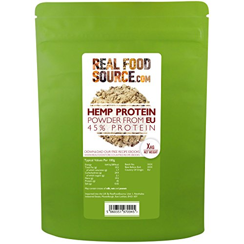 RealFoodSource EU Raw Hemp Protein Powder 50% Protein Content with FREE Hemp Recipe Ebook (2KG) by RealFoodSource by RealFoodSource