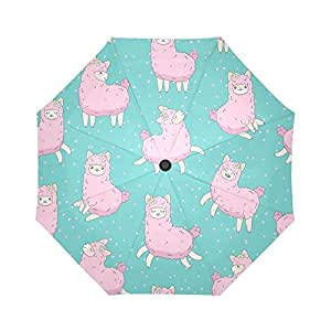 InterestPrint Cute Llama Pattern Windproof Automatic Open and Close Foldable Umbrella,Cartoon Alpaca Travel Compact Unbreakable Rain and Sun Umbrella