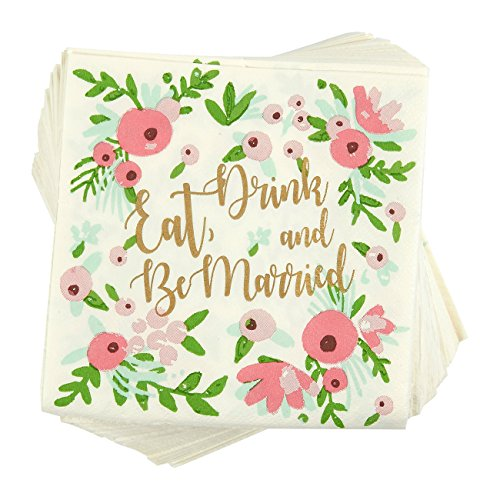 100-Pack Cocktail Napkins - Eat, Drink and Be Married Disposable Paper Party Napkins with Floral Design - Perfect for Bachelorette and Wedding Party Celebrations - 5 x 5 Inches Folded