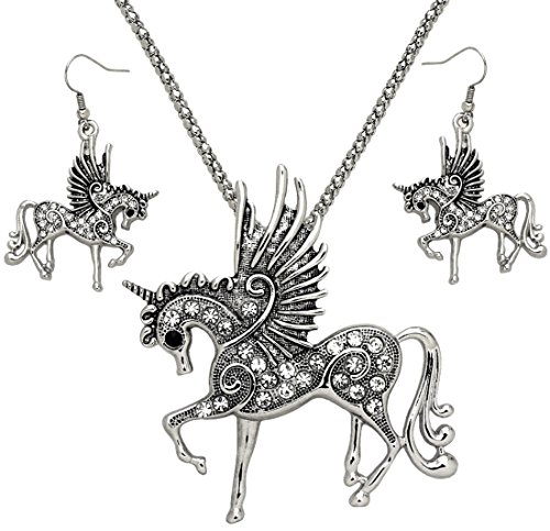 DianaL Boutique Silver Tone Rhodium Plated Large Pegasus Unicorn Horse Pendant Necklace and Dangle Earrings -