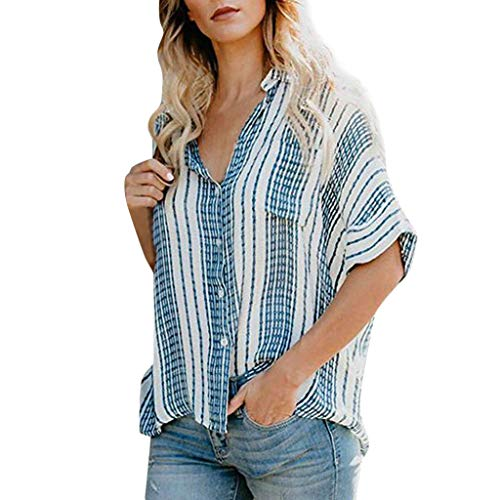 TUSANG Women Tees Button Color Block Stripes Button Down Blouses Tops Casual Comfy Tunic Shirt(Blue,US-12/CN-2XL)