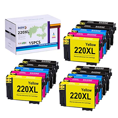 BAISINE 15-Pack Remanufactured Ink Cartridge Replacement for Epson 220XL Fit for WF-2750 WF-2760 WF-2630 WF-2660 WF-2650 XP-420 XP-320 XP-424 Printer Ink (6 Black, 3 Cyan, 3 Magenta, 3 Yellow) ()