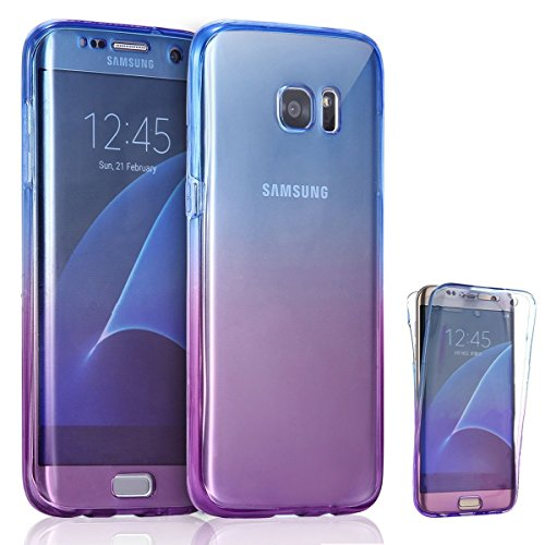 AMASELL Samsung Galaxy S7 Case, Full Coverage 360 Degree Front and Back Protective Case Shockproof TPU Gel Transparent Clear Cover for Samsung Galaxy S7, Blue Purple