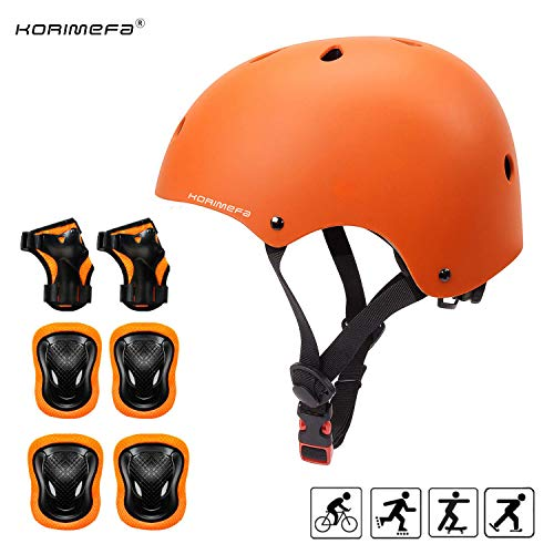 KORIMEFA Kids Helmet 3-8 Years Toddler Helmet Set Kids Bike and Skateboard Helmet with Knee Pads Elbow Pads and Wrist Guards for Cycling Scooter Rollerblading Kids Protective Gear (Orange)