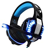 TurnRaise Stereo PC Gaming Headset with Mic, Blue LED Light Over-Ear Headphone Noise Isolation Volume Control for PS4, PSP, Laptop, Smartphones