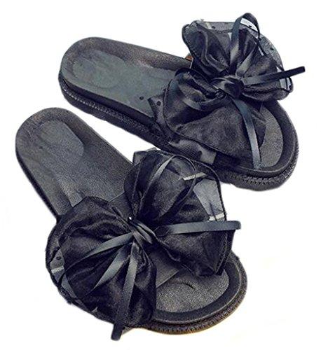 inferior parte negro palabra NEWZCERS la del los los de la gruesos la de verano arco zapatos mujeres la de Forme playa deslizadores planos fricción a de UqU4SxT