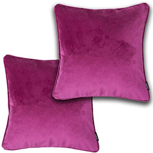 (McAlister Textiles Velvet Pillow Cover Set of 2, 20x20 Matt Fuchsia Pink Magenta Decorative Throw Cushion Case Euro Sham Bundle, Plush, Lush and Soft Classic Modern Accent, Luxury Decor)