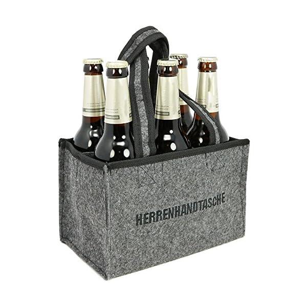 51GZFTfVvZL com-four® Herrenhandtasche - Filztasche für Getränke - Flaschentasche aus Filz für 6 Flaschen - 6er Träger bis 0,5 L…