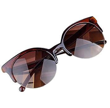 Lunettes de soleil Elyseesen Vintage Cat Eye jante semi ronde lunettes de soleil pour hommes femmes lunettes de soleil (Brown) qHfAQii