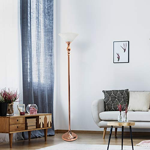 Elegant Designs LF2001-RGD 1 Light Torchiere Marbleized White Glass Shade Floor Lamp, Rose Gold