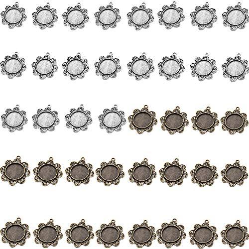 (MIAO JIN 40 Pcs 20mm Flower Circle Pendant Trays Pendant Blanks Cameo Bezel Settings Photo Jewelry (Sliver, Bronze))