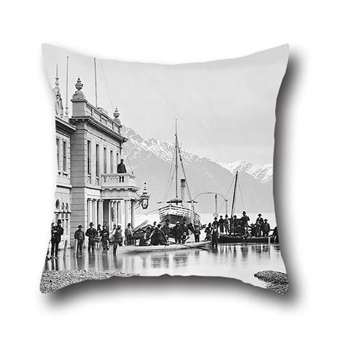 Oil Painting William P. Hart - Ballarat Street, Queenstown, NZ, Flooded 1878 Throw Pillow Covers 20 X 20 Inch / 50 By 50 Cm For Drawing Room,play Room,boys,him,bar,play Room With - Kids Ballarat