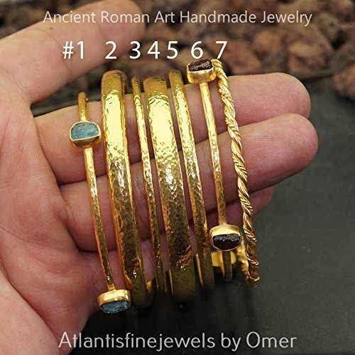 (Ancient Art Sterling Silver Hammered 3 mm Half Domed Bangle #5 24k Gold Vermeil Jewelry)