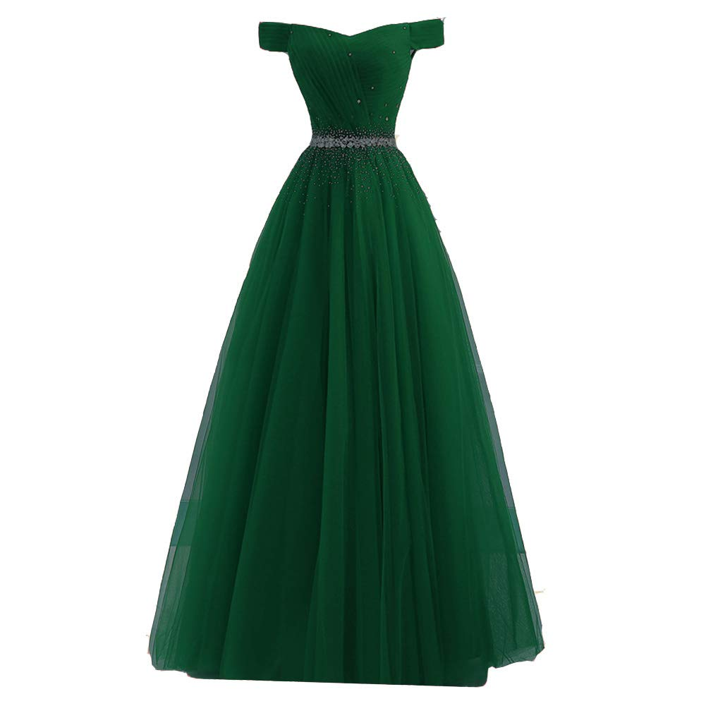 Emerald Green Lemai Long Off The Shoulder Beaded Tulle A Line Corset Prom Dresses Evening Gown