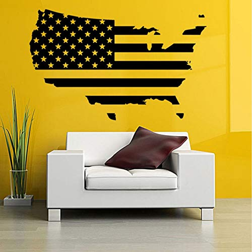 Map of America Wall Stickers USA Flag Design Travel Decor Removable Vinyl Wall Art Decal Self-Adhesive Murals Living Room 9157cm