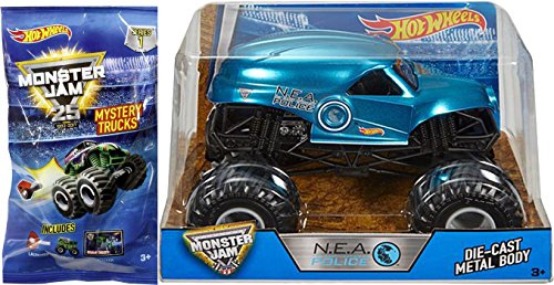 ot Wheels 1:24 N.E.A. Police Blue Chrome Truck & Mystery Minis Series 1 Blind Bag with Launcher (Monster Truck Jumping Cars)