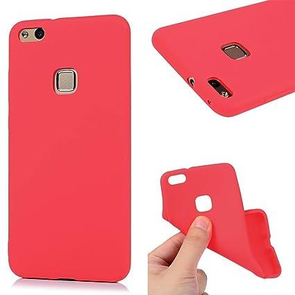 Funda HuaWei P10 Lite, Carcasa HuaWei P10 Lite Silicona Gel, OUJD Mate Case Ultra Delgado TPU Goma Flexible Cover para HuaWei P10 Lite - Rojo