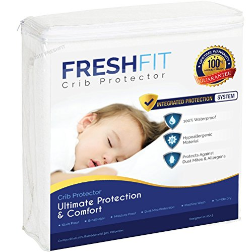 FRESHFIT Premium Waterproof Hypoallergenic Noiseless Baby Crib Mattress Protector. Best Protection from Dust Mites, Allergens, Perspiration and Fluid Spills (Crib)