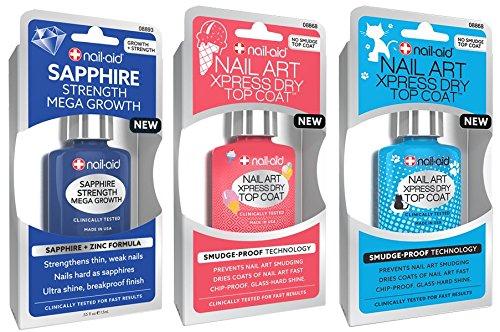 NAIL-AID Sapphire Base Coat + Nail Art Xpress Dry Top Coat, Clear, 3 Count