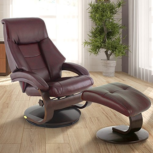 Comfort Chair 6002 Oslo Collection by Mac Motion Mandal Recliner and Ottoman in Merlot Top Grain Leather, Alpine