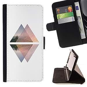 For Samsung Galaxy Note 3 III Case , Pirámide Blanca Negro Arriba Abajo Ascensor- la tarjeta de Crédito Slots PU Funda de cuero Monedero caso cubierta de piel