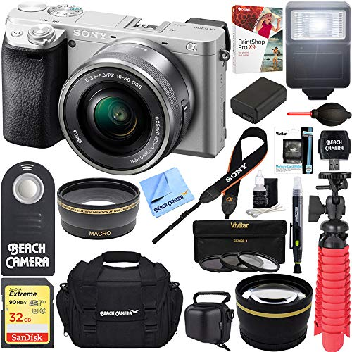 Sony a6300 4K Mirrorless Camera w/16-50mm Power Zoom Lens (Silver) + 32GB Accessory Bundle + DSLR Photo Bag + Extra Battery + Wide Angle Lens+2x Telephoto Lens + Flash + Remote + Tripod For Sale