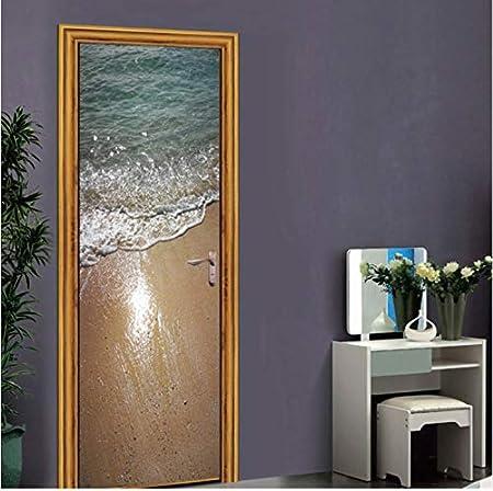 hzmt Etiqueta de la Puerta, 3D Vinly Color Glass Puertas Pegatinas para Ascensor Escalera Decoración Dormitorio Sala De Estar Impermeable Accesorios De Decoración del Hogar 77x200cm: Amazon.es: Hogar