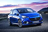 Opel Corsa OPC (2015) Car Art Poster Print on 10 mil Archival Satin Paper Blue Front Side Static View 36