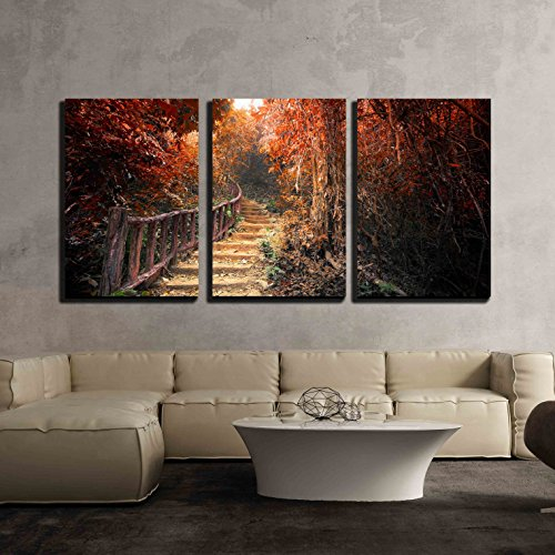 wall26 - 3 Piece Canvas Wall Art - Fantasy Forest in Autumn Surreal Colors. Road Path Way Through Dense Trees - Modern Home Decor Stretched and Framed Ready to Hang (Surreal Fantasy Art)