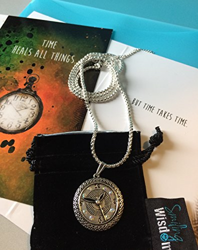 Smiling Wisdom - Clock Necklace & Time Heals All Things Greeting Card Gift Set - Long Chain Sweater Necklace - to Comfort, Lift a Friend, Encourage, Grief, Loss, Illness, Bereavement, -