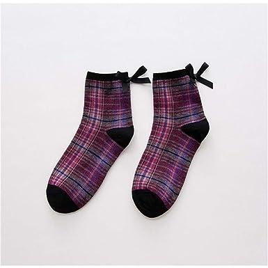 Lizes Corbata de cuadros de algodón de las mujeres Calcetines de ...