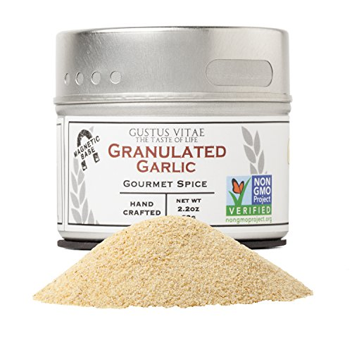 Granulated Garlic | Non GMO Project Verified | Hand-Packed In Magnetic Tin | Sustainably Sourced | Grown in USA | All Natural | Not Irradiated | Crafted By Gustus Vitae | 2.2 Oz Net Weight | 4 Oz Tin