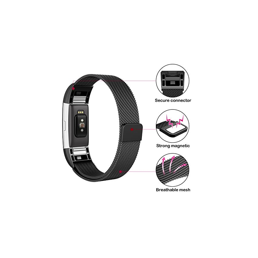 """SWEES Metal Bands for Fitbit Charge 2, Replacement Small (5.5"""" 8.5"""") Stainless Steel Metal Magnetic Wristband Watch Band for Women, Black, Rose Gold, Silver, Colorful"""