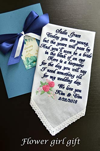 Flower girl gift with personalized embroidered custom message something old for your wedding day Bride gift to Flower girl wedding gift wedding handkerchief Groom gift wedding hankie Something -