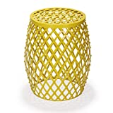 Homebeez Home Garden Accents Wire Round Iron Metal Stripes Stool Side End Table Plant Stand, Hatched Diamond Pattern (Yellow)