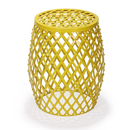 Adeco Home Garden Accent Round Iron Metal Stool Side End Table Plant Stand Chair, Hatched Diamond Pattern, for Indoor Outdoor, Bright Yellow