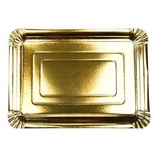10 Teller, Pappe eckig 24 cm x 33 cm gold beschichtet Papstar
