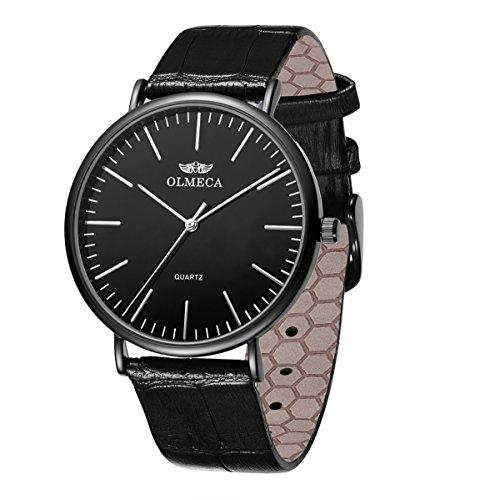 OLMECA Men's Luxury Watch Fashion Analog Quartz Watches Stainless Steel Chronograph Women Watch Waterproof Wrist Watch for Men (Y-Black)