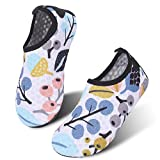 JIASUQI Summer Quick Dry Pool Beach Walking Athletic Water Shoes for Kid Girls White Leaf US 11-11.5 M Little Kid