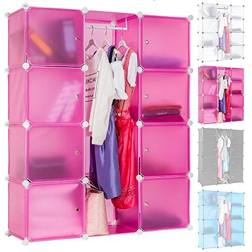 TecTake Steckregal Badregal Kleiderschrank Kinderregal Garderobe Schrank Regal schwarz (Pink)