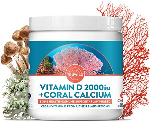 TRUWILD Vitamin D – Plant Based – from Lichen, Best Vegan D3 with Coral Calcium for Immune Support, Healthy Muscle Function, Bone Health, and Calcium Absorption with Ocean Minerals [60 Capsules]
