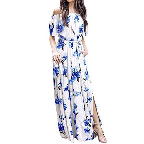 mens Long Kimono Shoulder Off Ruffle Short Sleeve Boho Printed Summer Flowy Split Maxi Dress (❤Drak Blue, L) (Vintage Caftan)