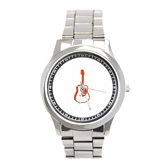 Ser un hombre outlined guitarra gráfico naranja. PNG los relojes de pulsera: Amazon.es: Relojes