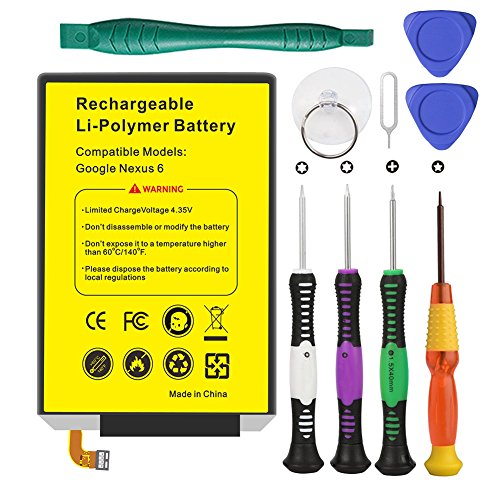 Euhan 3220mAh Rechargeable Li-Polymer Battery SNN5953A Replacement Motorola Google Nexus 6 XT1100 XT1103 EZ30 + Repair Replacement Kit Tools by Euhan